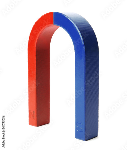 Red and blue horseshoe magnet isolated on white