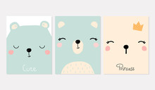 Cute Kids Print With Bear Faces And Quotes. Vector Hand Drawn Illustration.