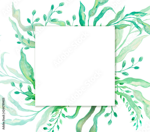 Green Floral Frame For Card Or Wedding Announcment