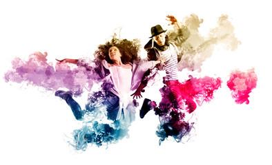 Beautiful young couple in dance studio