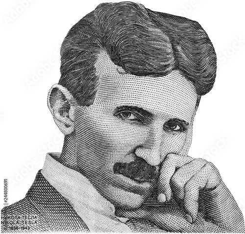 Nikola Tesla portrait on Serbia banknote isolated. Genius scientist and inventor, famous by the inventions in electricity. Wall mural