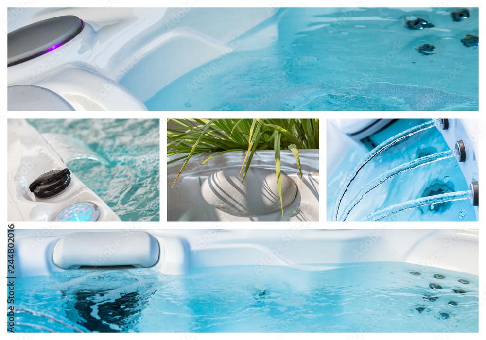 Fototapeta Closeup of water in hot bath tubs at spa