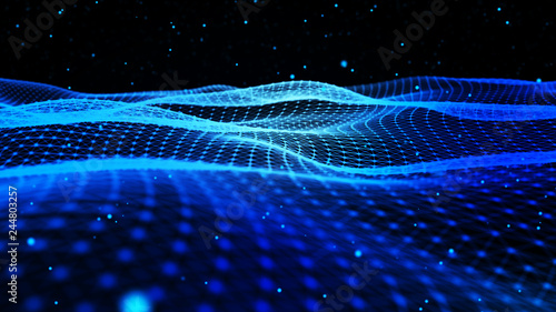 Poster Noir Abstract background with dynamic blue wave. Particle placement with hanging dots in space. Large data background. 3D rendering.