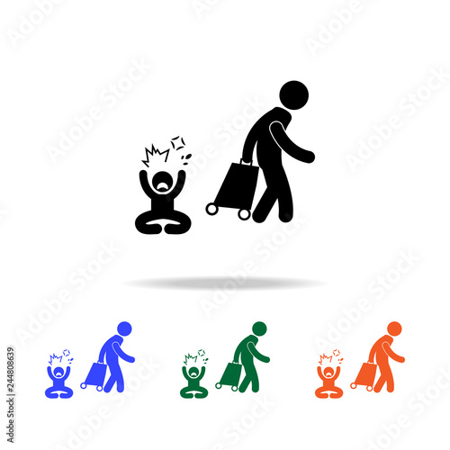 Fototapeta leave the family one of the parents multicolor icons