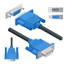 View Right And Isometry Video Graphics Array VGA Connector Vector Illustration