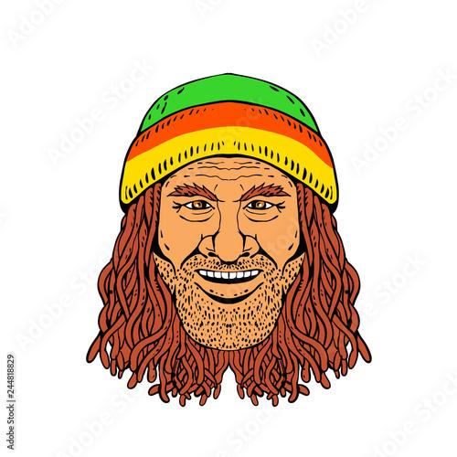 Fotografie, Obraz  Drawing sketch style illustration of head of a Rastafarian, Rastafari or guy practising Rastafarianism, wearing a beanie and dreadlocks on white background in full color