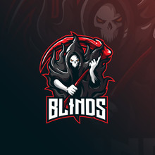 Skull Blind Mascot Logo Design Vector With Modern Illustration Concept Style For Badge, Emblem And Tshirt Printing. Angry Skull Illustration For Sport And Esport Team.