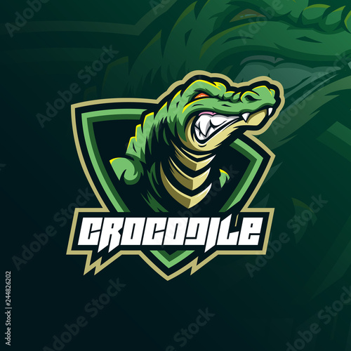 crocodile mascot logo design vector with modern illustration concept style for badge, emblem and tshirt printing. angry aligator illustration for sport team. Wall mural