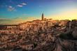 canvas print picture - Matera ancient town i Sassi, Unesco site landmark. Basilicata, Italy.