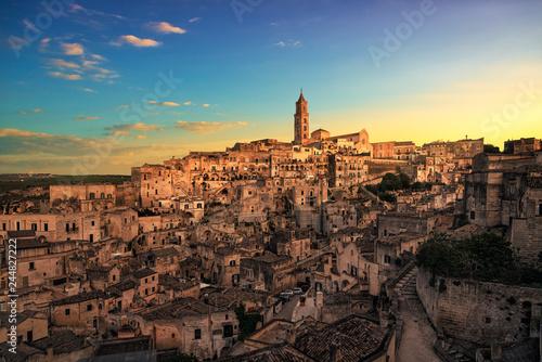 Obraz Matera ancient town i Sassi, Unesco site landmark. Basilicata, Italy. - fototapety do salonu