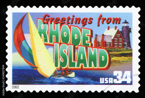 Fotografia  UNITED STATES - CIRCA 2002: a postage stamp printed in USA showing an image of the Rhode Island state, circa 2002
