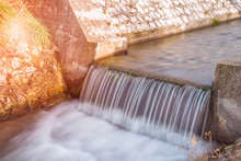 A Small Weir On A Creek. Long ...