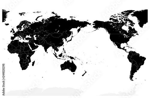 Fotografía  World Map Black Color Pacific Centered. No text