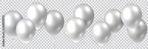 Fototapeta Beautiful colorful realistic seamless vector of silver flying party balloons. obraz