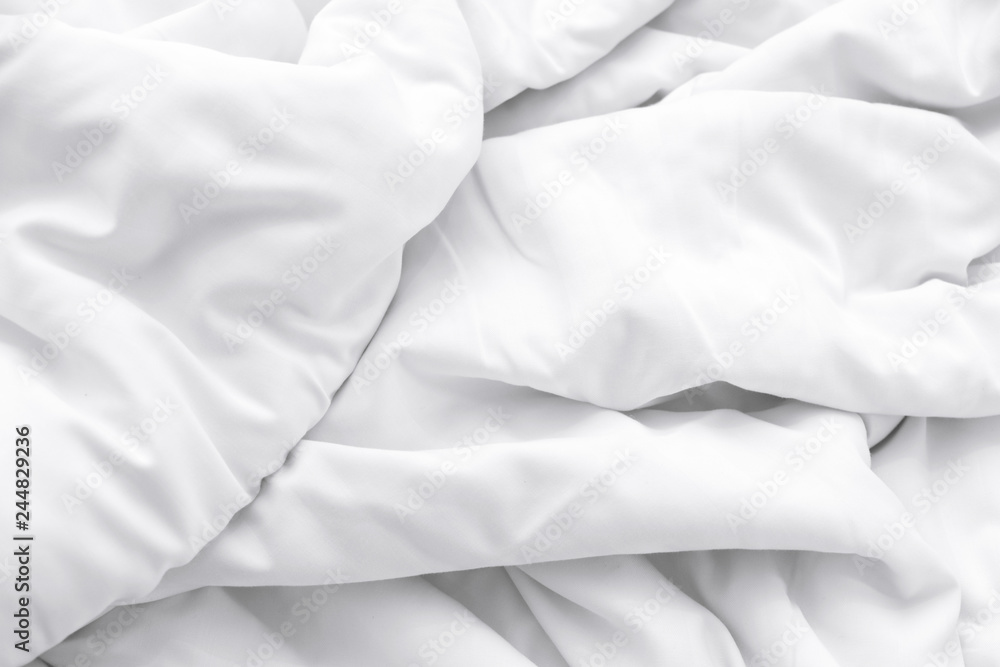 Fototapety, obrazy: White delicate soft background of fabric or bedding sheet