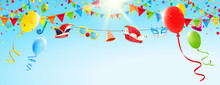 Fasching - Himmel Mit Luftballons, Girlanden Und Fasching Accessoires Banner