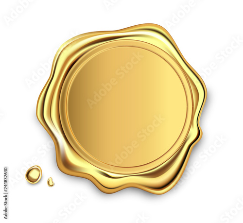 Gold stamp wax seal approval vector sealing retro label set Fototapeta