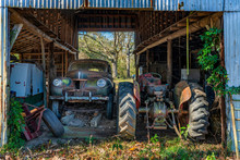 Old Barn And Classic Tractor And Car