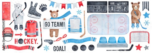 Big Ice Hockey Set with brown and polar bear characters, various thematic symbols, cheering fan signs and celebration bunting Canvas Print