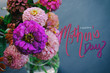 canvas print picture - Pink Zinnia flowers on chalkboard background with Mother's Day text.