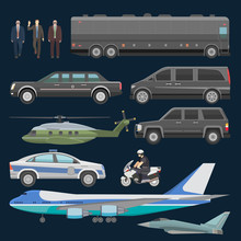 Government Car Vector Presidential Auto Plane And Luxury Business Transportation With Police Car Illustration Set Of Transport Bus Vehicle And Motorcycle With President Isolated On Background