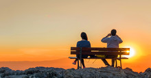 Romantic Scene Of Couple Watch...