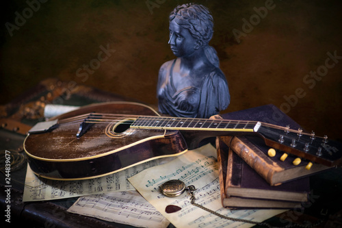 Still Life with antique mandolin and music notes - Buy this