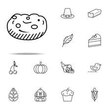 Cake, Cookie, Dessert Icon. Thanksgiving Day Icons Universal Set For Web And Mobile