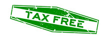 Grunge Green Tax Free Word Hexagon Rubber Seal Stamp On White Background