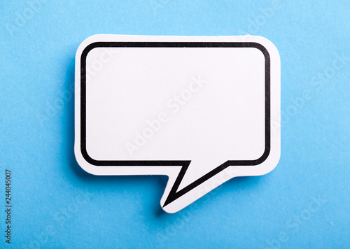 Blank Speech Bubble Isolated On Blue