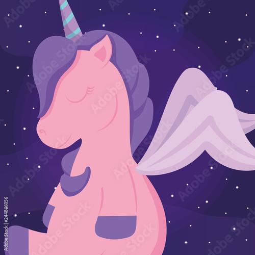 Keuken foto achterwand Draw cute unicorn icon