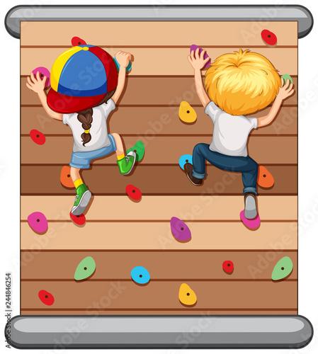 Obraz Children climbing the wall - fototapety do salonu