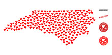 Mosaic Map Of North Carolina State Created With Red Love Hearts, And Grunge Watermarks For Dating. Vector Lovely Geographic Abstraction Of Map Of North Carolina State With Red Dating Symbols.