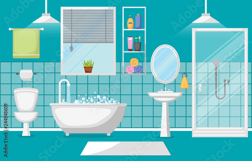 Fotografía  Bathroom Interior Clean Modern Room Furniture Flat Design