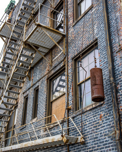 Canvas Print Fire escape on the outside of a building in Roanoke Virginia