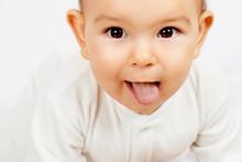 White Coating On Tongue Baby. Oral Thrush.