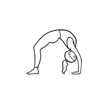 Woman Practicing Yoga Bridge Pose Hand Drawn Outline Doodle Icon. Healthy Lifestyle, Yoga Wellness Concept. Vector Sketch Illustration For Print, Web, Mobile And Infographics On White Background.