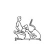 Man training on exercise bike hand drawn outline doodle icon. Fitness and health, gym workout exercises concept. Vector sketch illustration for print, web, mobile and infographics on white background.