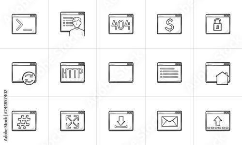 Browser windows hand drawn outline doodle icon set  Outline doodle
