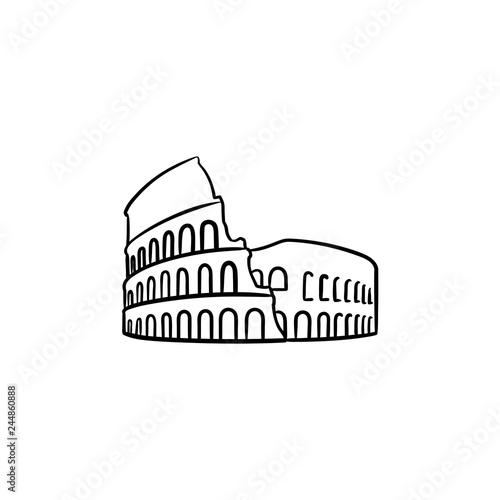 Vászonkép Rome coliseum hand drawn outline doodle icon