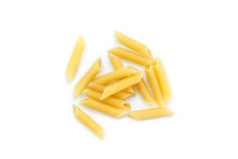 Dry Pasta Penne Italian Food White Background.