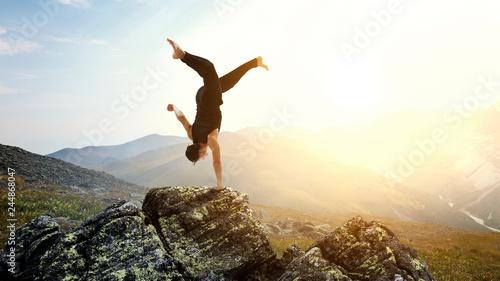 Fotografie, Obraz  Extreme yoga practice. Mixed media