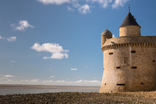 The Tower La Tour Gabriel Of Le Mont Saint Michelle On A Sunny Day In Summer