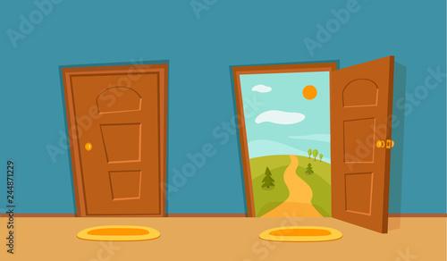 Open Door Cartoon Colorful Vector Illustration House Apartment Entrance