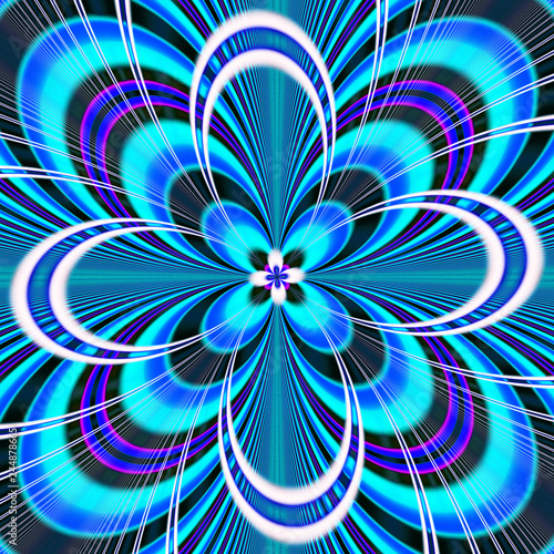 Poster Psychedelic Abstract fractal background.Abstract painting, Sunny flower.Motion holiday background.Modern multicolor futuristic dynamic pattern.Fractal 3d artwork creative graphic design.