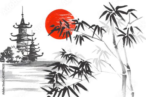 Japan Traditional japanese painting Sumi-e art Sakura Sun Temple