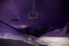 Cable Car Station At Ski Resort At Night