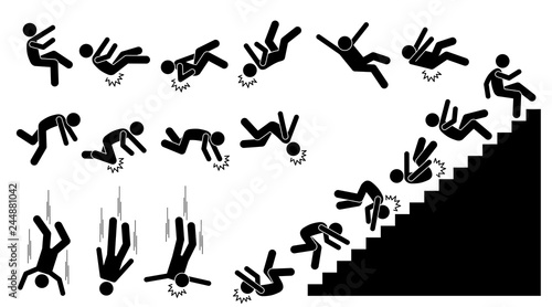 Fototapeta Man falling and felling down. Pictogram shows a person fall down and knock on different parts of the body. The injuries are on back, elbow, head, knee, and neck. He also fell down from the staircases. obraz