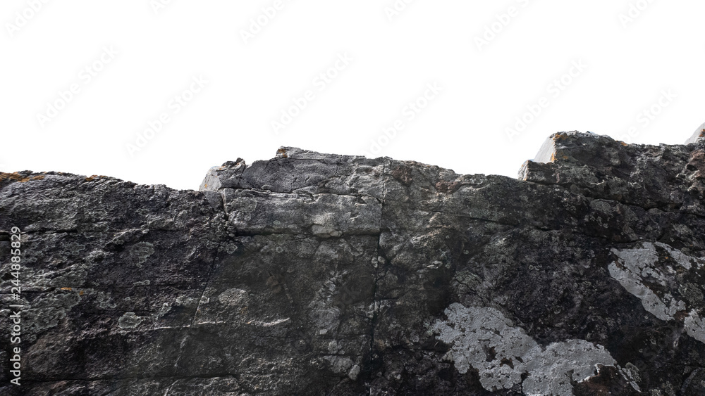 Fototapety, obrazy: Big heavy of rock stone isolated white background ,Natural mineral object