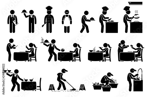 Obraz Icons for workers, employees, and customers at restaurant. Stick figures are manager, chef, supervisor, cleaner, waiter, and client. The cook is preparing food and the waiter serve the dish. - fototapety do salonu